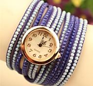 Women's Round  Fashion Leather Japanese Quartz Watch