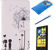 Lover and Dandelion Pattern PU Leather Full Body Case with Stylus、Protective Film and Soft Pouch for Nokia Lumia N630