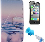 Cloud Patterns PU Leather Full Body Cover with Pig Stand and Protective Film for iPhone 4/4S