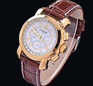 MCE Women's Auto-Mechanical Multi-functional Waterproof Gold Case PU Band  Wrist Watch