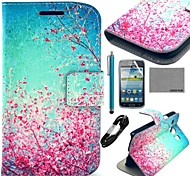 COCO FUN® Sky Red Floral Pattern PU Leather Case with Film and Cable and Stylus for Samsung Galaxy Core GT-I8260 I8262