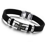 New style Cross  22cm Men Black Silicone Bracelet