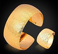 U7® Vintage G Pattern Statement Cuff Chunky Bracelet Band Ring Set 18K Real Gold Platinum Plated Jewelry for Men