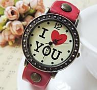 Unisex  Retro Round Dial I LOVE YOU Pattern PU Strap Quartz Watch  (Assorted Colors)