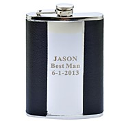 Personalized Gift 9oz Stainless Steel Leather Hip Flask