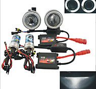 Carking™ 12V 35W HID Headlamps Car Projector Fog Lamps Kit with White Light CCFL Angel Eyes (Pair)