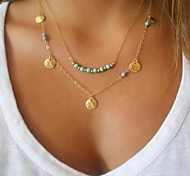 European Style Double Layers Contracted Roundels And Beads Pendant Necklace
