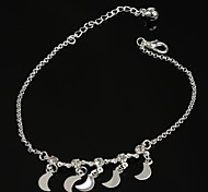 Fashion Hot Crescent-shaped Pendant Cystal Silver Plated Anklet for Girls