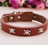 Cody Skull Style Cow Leather Collar for Pets Dogs