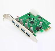 4-портовый USB 3.0 PCI-E карты, встроенный в разъем питания 4-контактный, поддержка Linux