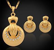 pendientes collar colgante de u7® nuevas mujeres establecen oro verdadero 18k plateó el rhinestone austríaco regalo exquisito joyas