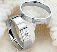 Key and Lock Love Tokens Never Part Titanium Steel Couples Ring