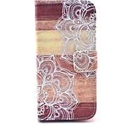 mandala fleur sur le modèle en bois cuir PU de cas complète du corps avec fente pour carte pour le mini-samsung galaxy
