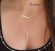 Eruner® Fashion Vogue Delicate Double Chain Geometry Pendant Charm Clavicle Necklace