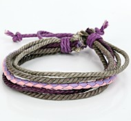 Adjustable Women's Leather Bracelet Very Cool Gray Lavender Rope Pink And Lavender Leather (1 Piece)