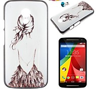 Girl Pattern PC Back Cover Case With Dustproof plug for Motorola G2