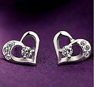 Heart Jewelry Heart Wedding Party Daily Sterling Silver Rhinestone Silver