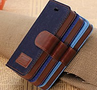 Denim PU Leather Full Body Case with Strap with Stent Card for iPhone 5/5S (Assorted Colors)