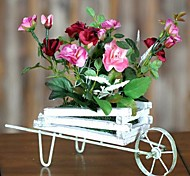 Home Decoration Artificial Silk Rose Flowers With Cart Arrangements