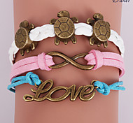 Eruner®Leather Bracelets Multilayer Alloy Love and Tortoise Charms Handmade Bracele