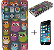 Owl Pattern PU Leather Full Body Case with Screen Protector Cover for iPhone 6 Plus