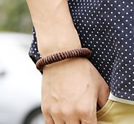Vintage Punk Contracted Brown Genuine Leather Men's Bracelets