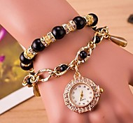 Women's Circular Beads Tassel Quartz Hand Catenary Watch