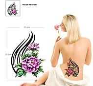 PC 1 Color de la figura impermeable dos flores patrón tatuaje pegatinas