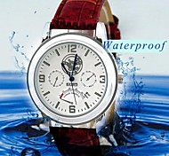 Men's Leather Strap Quartz Analog Wrist Watch