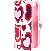 coloré conception de coeur porte-monnaie en cuir pu reposer couvercle rabattable pour iPhone 6