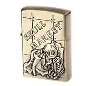 6115 Skull Pattern Zinc Alloy Fuel Lighter (Antique Brass)