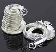 925 Silver Flat Snake Necklace + Flat Snake Bracelet Set
