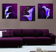 E-HOME® Purple Flowers  Clock in Canvas 3pcs