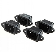 DIY 3-Pin 10A / 250V Power Socket Outlet (4pcs)