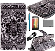 COCO FUN® Grey Stars Pattern PU Leather Full Body Case with Film USB Cable and Stylus for Motorala Moto G