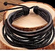 Mode Leder braun schwarz Herren-Wickelarmband (1 PC) für den Großhandel