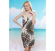 Women's Fashion Sexy Sunflowe Deep-v Swimwear Swimsuit Beach dress Bikini Cover-up