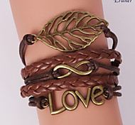 Eruner®Multilayer Alloy Love and Leaf Charms Handmade Leather Bracelets