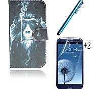 Raucher Orang-Utan-PU-Leder Ganzkörper-Fall mit Kartensteckplatz mit Touch-Pen und Schutzfilm 2 Stück für Samsung s3 i9300