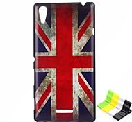 caso duro del patrón de bandera británica PC y soporte para teléfono para sony xperia t3