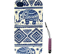Blue And White Porcelain Elephant Pattern Hard Case & Touch Pen for iPhone 4/4S