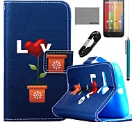 COCO FUN® Love Potted Pattern PU Leather Full Body Case with Film and USB Cable and Stylus for Motorala Moto G