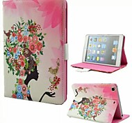Birds and Girl PU Full Body Case with Stand and Rhinestone for iPad 2/3/4