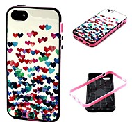 2-in-1 Many Colorful Heart Pattern TPU Back Cover with PC Bumper Shockproof Soft Case for iPhone 5C