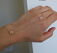 Eruner®Celebrity Simple Chain Bracelet Finger Ring Slave Bangle Hand Harness Crystal