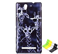 Giraffe Pattern PC Hard Case and Phone Holder for Sony C3