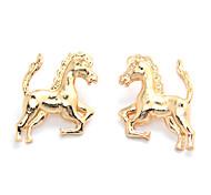 Metal 3 colors Gold Silver Gun Black Horse Stud Earrings