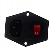 DIY 3-Pin 10A / 250V Power Socket Outlet Fuse Holder With Indicator