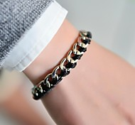 Fashion Women Ribbon Metal Chain Plaited Bracelet