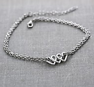 Fashion Heart Alloy Charm Bracelet(Silver,Golden)(1 Pc)